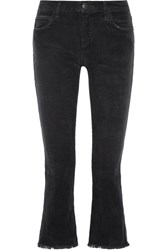 Current Elliott The Kick Cropped Mid Rise Corduroy Flared Jeans Black