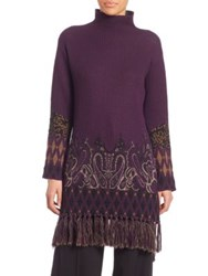 Etro Tasseled Printed Tunic Purple