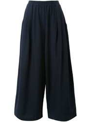Megan Park Cropped Wide Leg Trousers Black