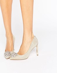 Ted Baker Peetch Gold Embellished Courts Gold Sparkle Textile