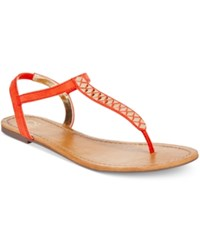 Material Girl Sage T Strap Flat Thong Sandals Only At Macy's Women's Shoes Tangerine