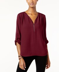 Inc International Concepts Roll Tab Zip Trim Blouse Only At Macy's Port