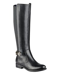 Tommy Hilfiger Suprem Suede And Textile Riding Boots Black