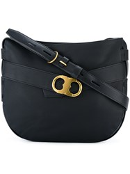 Tory Burch Metallic Buckle Shoulder Bag Black