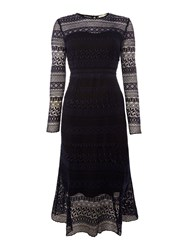 Little White Lies Long Sleeved Lace Shift Dress Navy