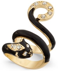 Thalia Sodi Gold Tone And Black Epoxy Crystal Panther Coil Ring Only At Macy's