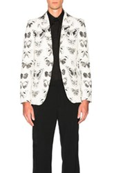 Alexander Mcqueen Moth Blazer In Animal Print White Animal Print White