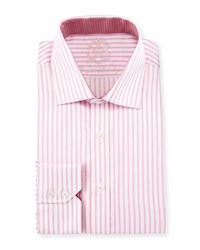 English Laundry Striped Cotton Dress Shirt Pink White