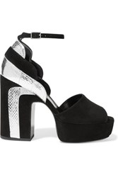 Pierre Hardy Roxy Metallic Watersnake Paneled Suede Platform Sandals Silver