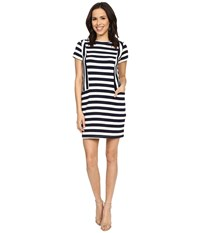 Brigitte Bailey Miranda Striped Short Sleeve Dress Navy White Women's Dress Blue