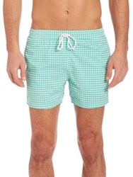Lacoste Gingham Swim Trunks Blue