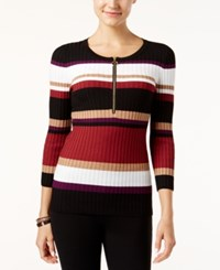 Inc International Concepts Zip Front Striped Sweater Only At Macy's Burnt Pepper