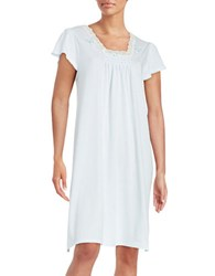 Miss Elaine Lace Trimmed Nightgown Blue