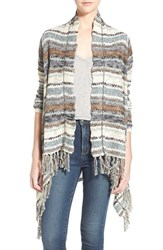 Junior Women's Sun And Shadow Stripe Fringe Open Cardigan Green Duck