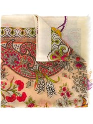 Etro Floral Paisley Print Scarf Nude And Neutrals