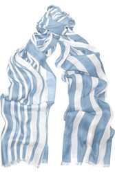 Tomas Maier Paint Stroke Striped Modal And Silk Blend Scarf Blue