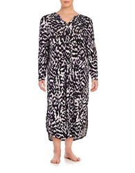 Lord And Taylor Plus Printed Nightgown Black White