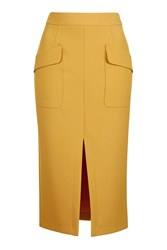 Topshop Tall 2 Pocket Midi Skirt Mustard