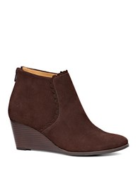Kenneth Cole Emery Suede Wedge Booties Brown