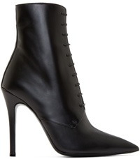 Yang Li Black Leather Lace Up Stiletto Boots