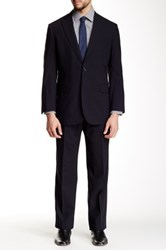 Brooks Brothers Navy Solid Two Button Notch Lapel Wool Blend Suit Blue