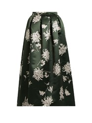 Rochas Dalia Print Duchess Satin Midi Skirt Green Multi