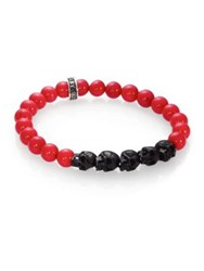 King Baby Studio Red Coral Beaded Bracelet Red Black