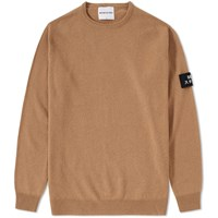 Mki Miyuki Zoku Mki Arm Badge Lambswool Crew Knit Brown