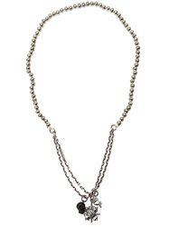 M. Cohen Skull Charm Necklace Metallic