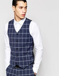 Asos Super Skinny Vest In Check In Navy Navy