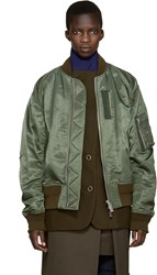 Sacai Green Layered Bomber Jacket