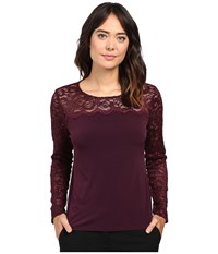 Calvin Klein Long Sleeve Top With Lace Yoke And Sleeve Aubergine Women's Long Sleeve Pullover Purple