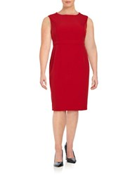 Nipon Boutique Plus Solid Sheath Dress Fire Red