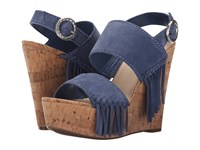 Guess Shanan Blue Suede Women's Wedge Shoes