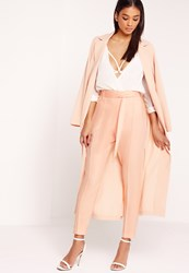 Missguided Tie Waist Seamed Front Cigarette Trousers Nude Mauve