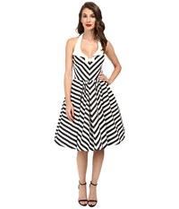 Unique Vintage Chevron Stripe Halter Skipper Swing Dress Black White Women's Dress