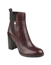 Tommy Hilfiger Britton Leather Booties Burgundy