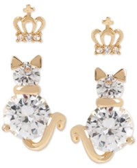 Betsey Johnson Gold Tone Crystal Crown And Cat Stud Earring Set