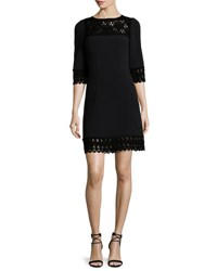 Andrew Gn 3 4 Sleeve Lace Trim Dress Black Black W Black