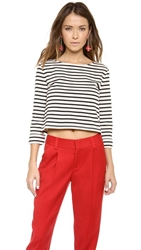 Alice Olivia Rolled Sleeve Boxy Crop Top Black Off White