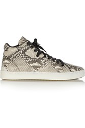 Rag And Bone Kent Snake Effect Leather High Top Sneakers Animal Print