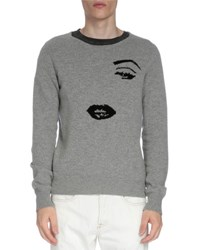 Dries Van Noten Knit Face Crewneck Sweater Gray