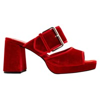 Finery Holly Mule Block Heeled Sandals Red