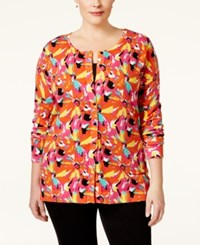 August Silk Plus Size Printed Cardigan Tropical Warm Print