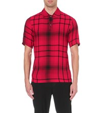 Mcq By Alexander Mcqueen Tartan Relaxed Fit Woven Polo Shirt Red Tartan