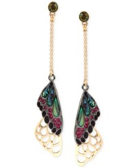 Betsey Johnson Two Tone Stone And Pave Butterfly Wing Drop Earrings Gold