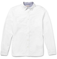 Burberry Slim Fit Chambray Trimmed Cotton Pique Shirt White
