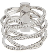 Michael Kors Brilliance Pave Criss Cross Ring Silver
