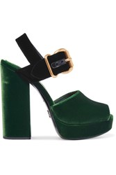 Prada Two Tone Velvet Sandals Dark Green