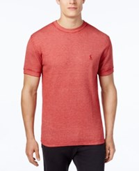 Polo Ralph Lauren Men's Waffle Knit Vintage Wash Short Sleeve Sleep Shirt Franklin Red